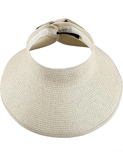 Hestya Women s Wide Brim Roll-up Straw Sun Visor Packable Foldable Sun Visor  Beach Open 04f002b9e81