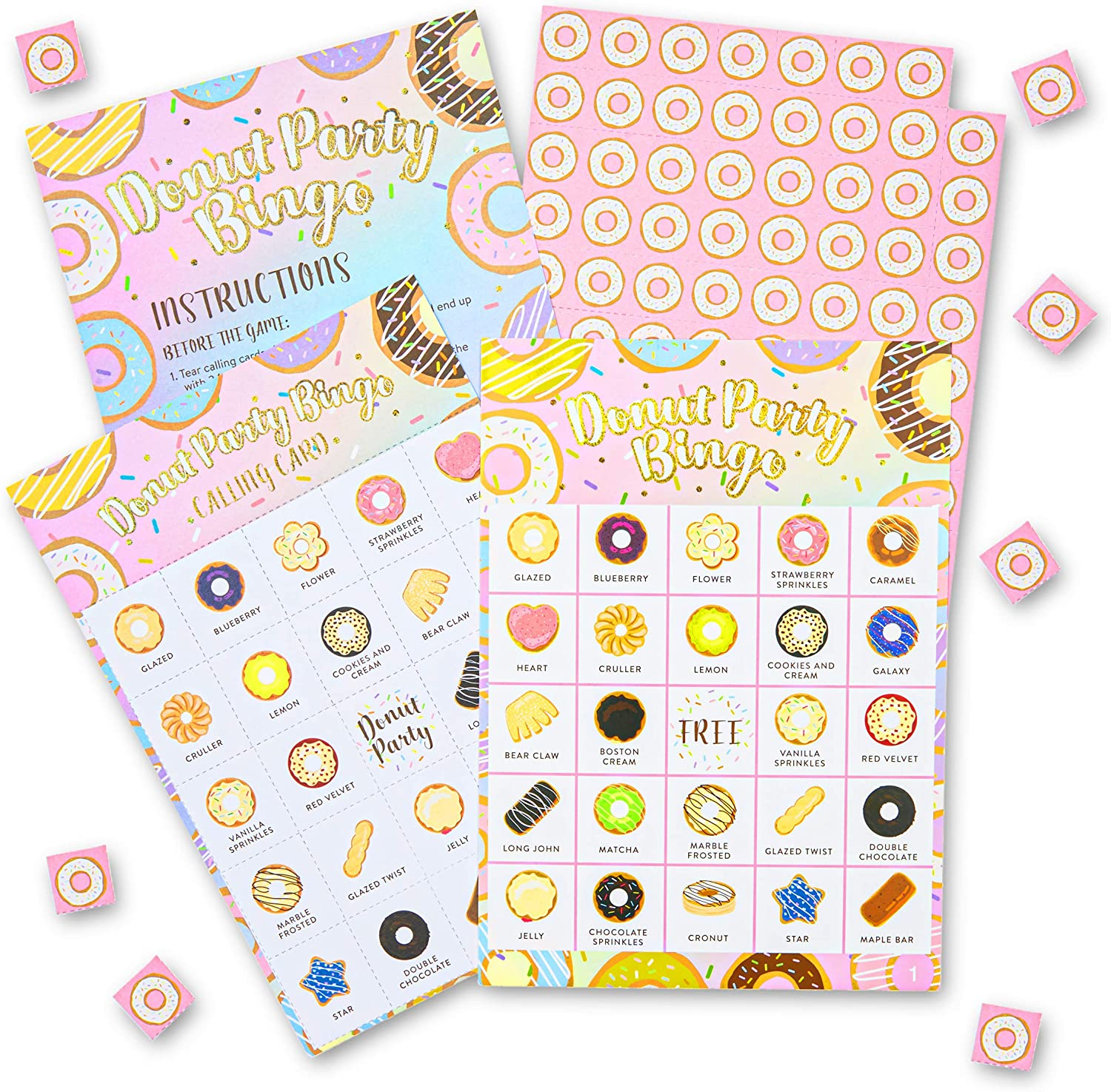 Donut Bingo Party Game for Birthdays, Donut Grow Up (5 x 7 Inches, 36 Cards)