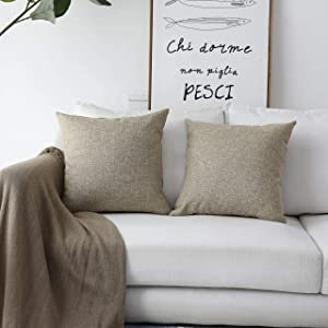 Home Brilliant Burlap Linen Textured Cushion Covers Thanksgiving Decorative Throw Pillow Cover for Sofa Couch Bed, Set of 2, Natural Linen