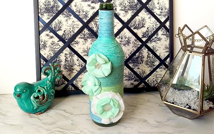 Amazon Yarn Wrapped Bottle Sea Glass Style Vase Beach