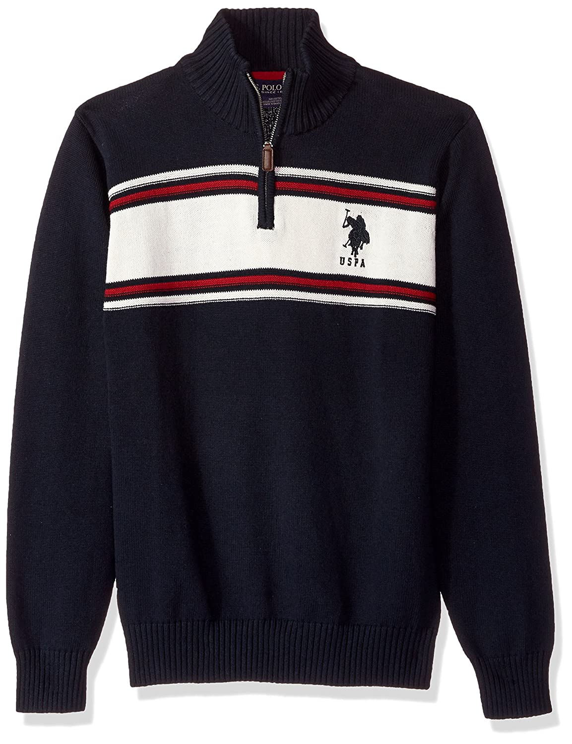 U.S. Polo Assn. Men's Chest Stripe 1/4 Zip Sweater ACUF7S5848
