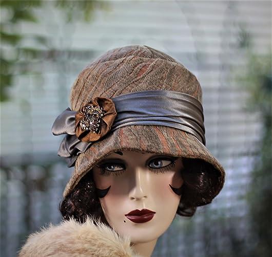 1510e09c6d97b9 Amazon.com: 20s Vintage Style Cloche Hat, Fall, Winter, Chemo Hat ...