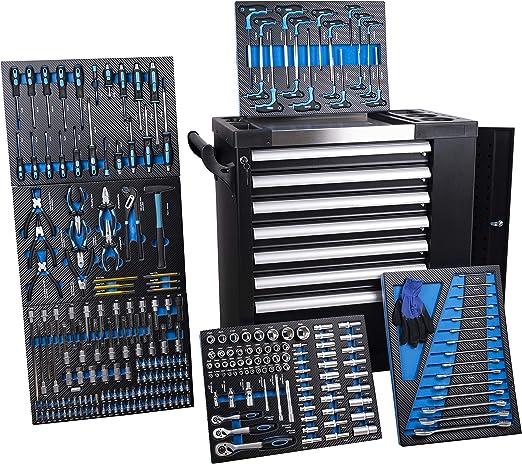 Carro de taller de 6 de 7 cajones lleno de herramientas: Amazon.es: Hogar