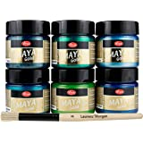 Maya Gold 6er Set (Forest) inkl. LM Pinsel --- Viva Decor Metallic Effektfarbe, Metallglanz, Effekt Farbe Metall, Bastelfarbe, Dekofarbe