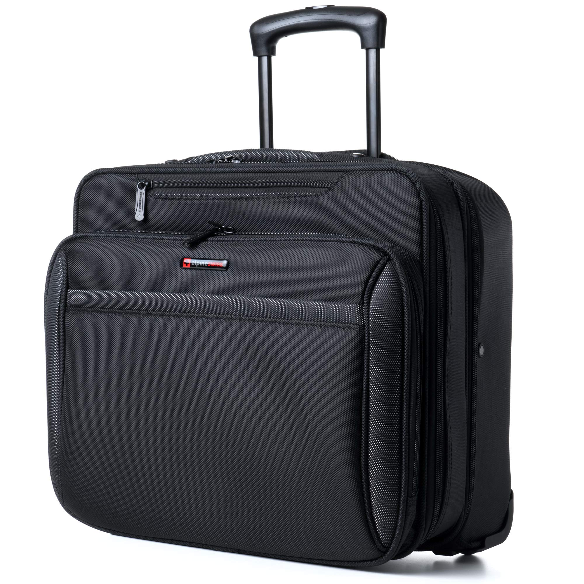 Alpine Swiss Rolling Laptop Briefcase Wheeled Overnight Carry on Bag Up to 15.6 Inches Notebook - Carries Legal Size Files by alpine swiss (Image #2)