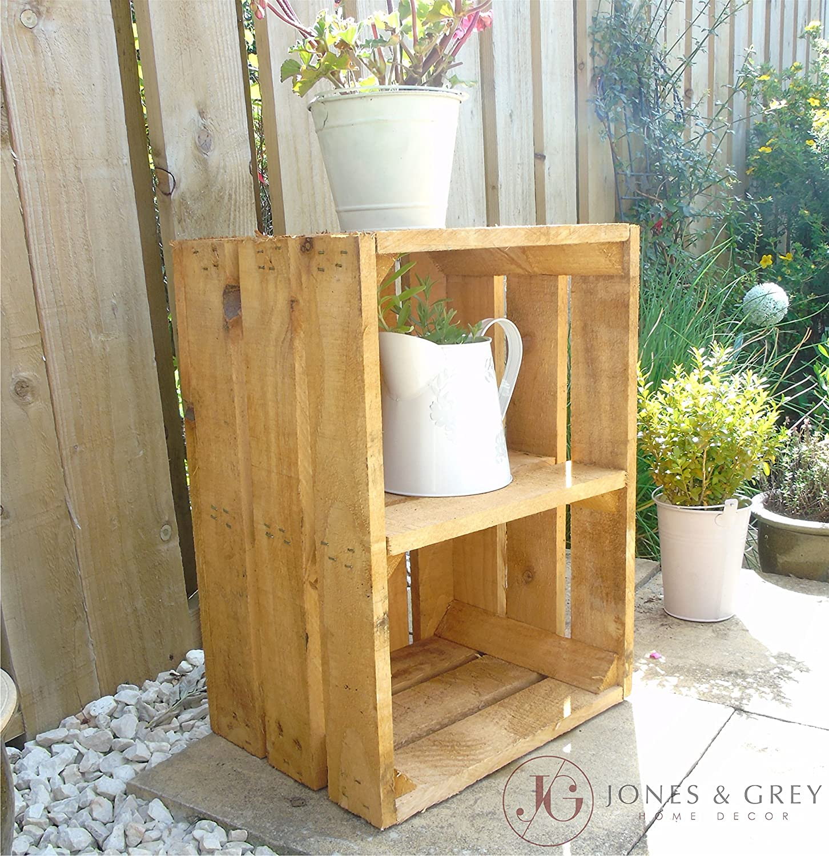 Caja de madera para jardín, diseño vintage, con estantes, Light Golden Brown: Amazon.es: Jardín