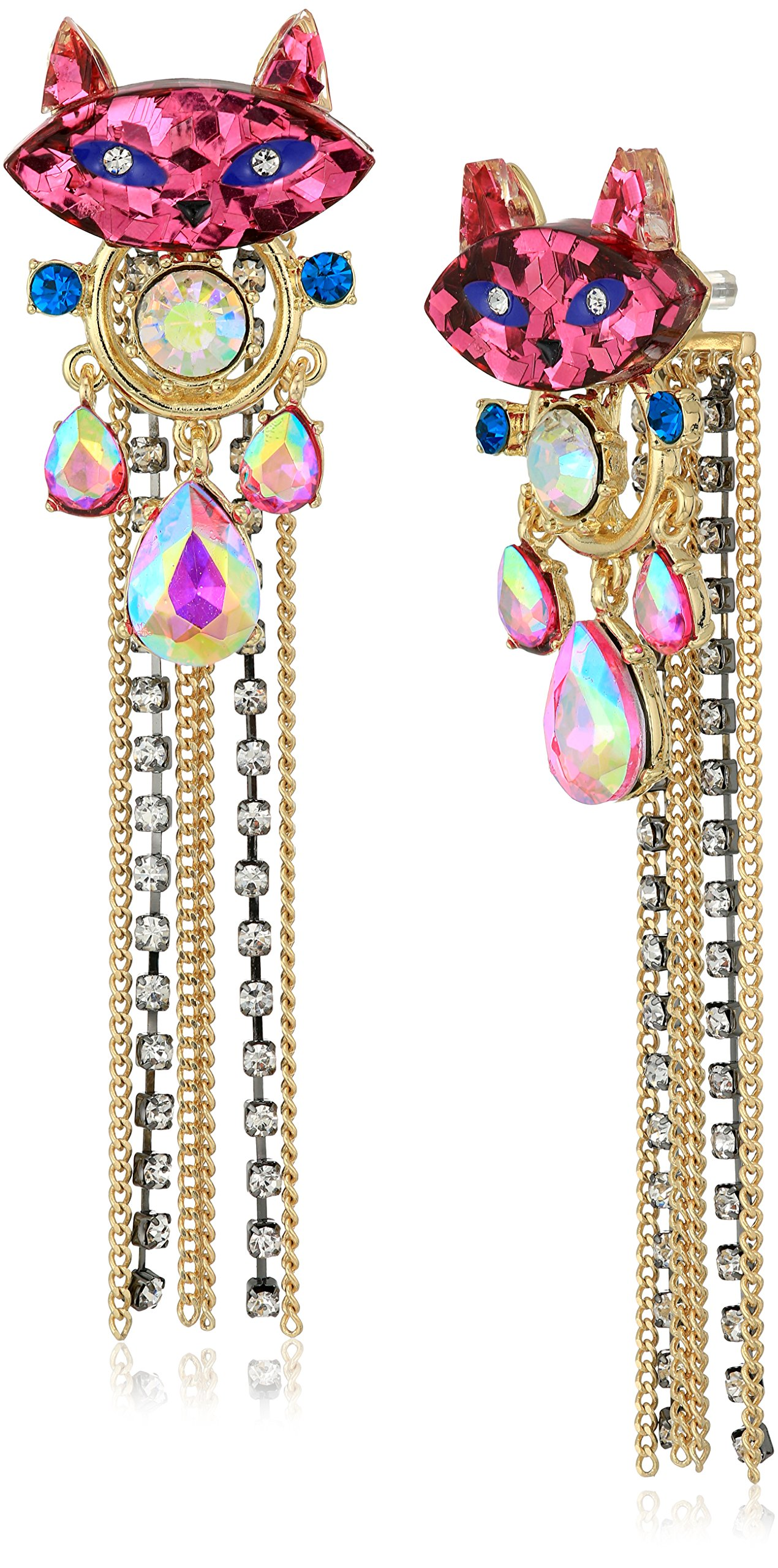 Betsey Johnson Womens Granny Chic Bright Pink Cat Stone and Chain Front Back Earring Jacket, Multi, One Size