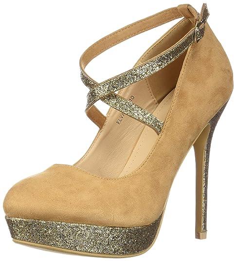 54f8cdec335 Mila Lady ELVA26 Women Fashion Embellished Sparkles Party Pumps High Heel  Stilettos Sexy with Slim Strap