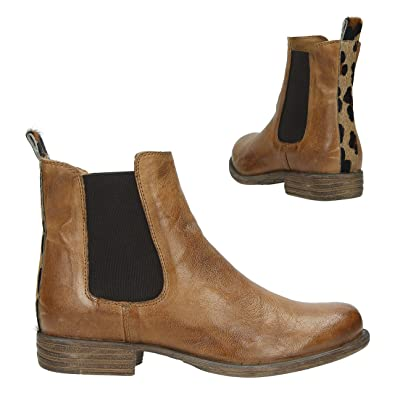 c17d2fd5e52e22 Post Xchange Damen Boots Cognac Leo Chelsea Boots mit Leo Halbschuhe Jessy  (40 EU