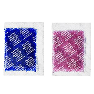 Dry & Dry 20 Gram [14 Packets] Premium Silica Gel Blue Indicating(Blue to Pink) Silica Gel Packs Desiccant Dehumidifier - Rechargeable Silica Packets for Moisture Absorber Silica Gel Packets