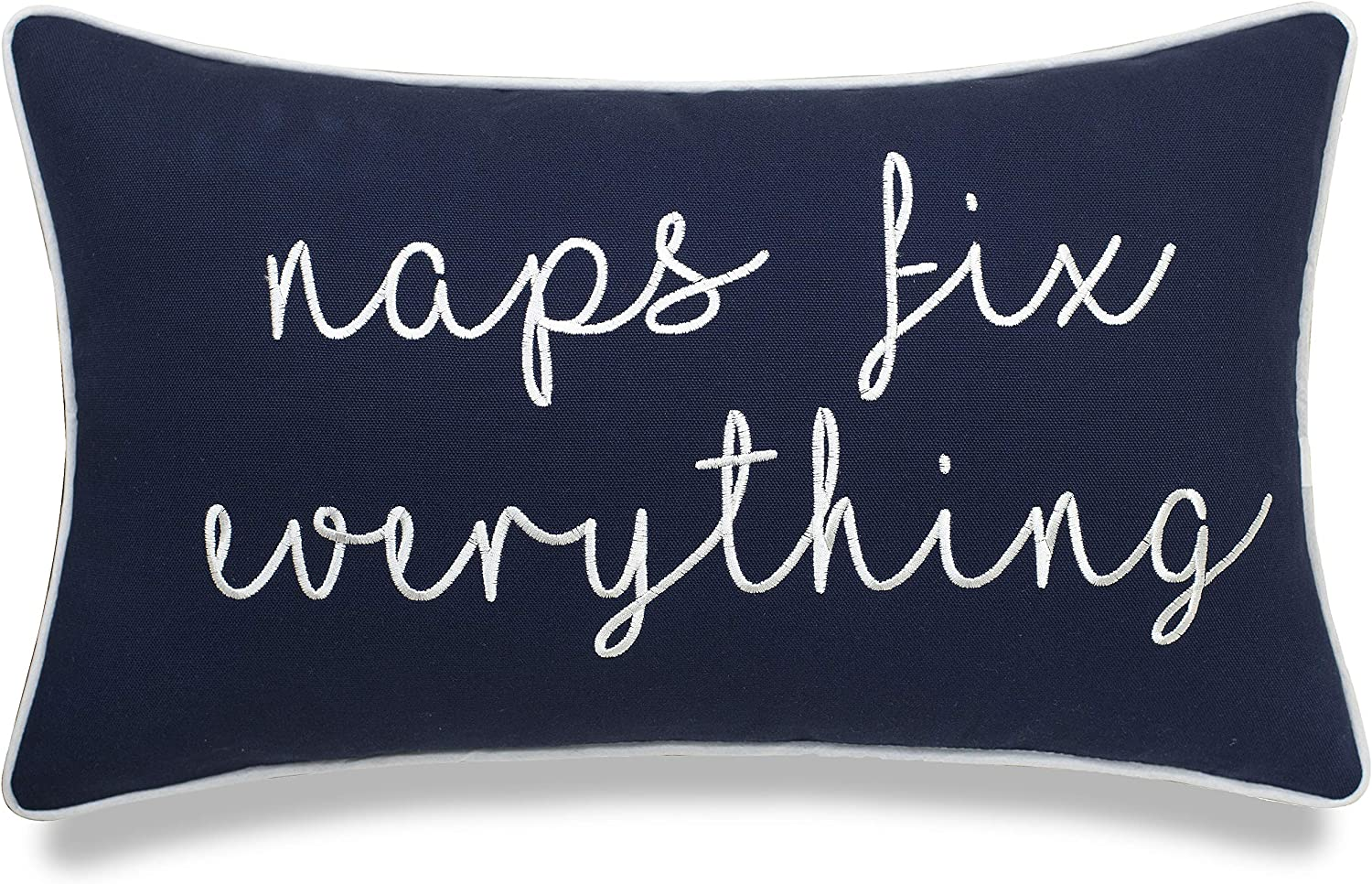 EURASIA DECOR Naps Fix Everything 12x20 Embroidered Decorative Lumbar Accent Throw Pillow Cover-Navy Blue