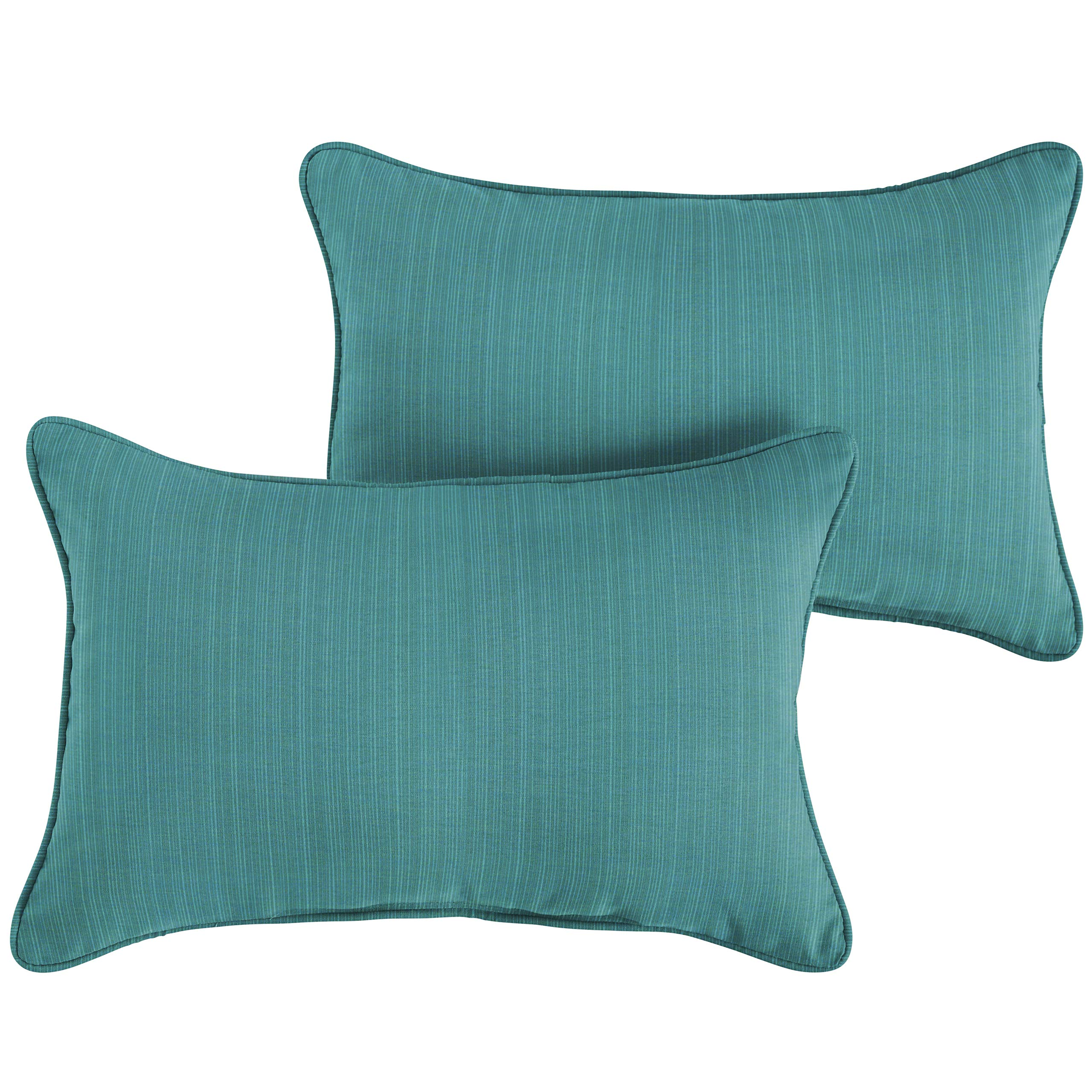 1101Design Sunbrella Dupione Deep Sea Corded Decorative Indoor/Outdoor Lumbar Throw Pillows, Perfect Patio Décor - Textured Sea Blue 12''x18'' (Set of 2)