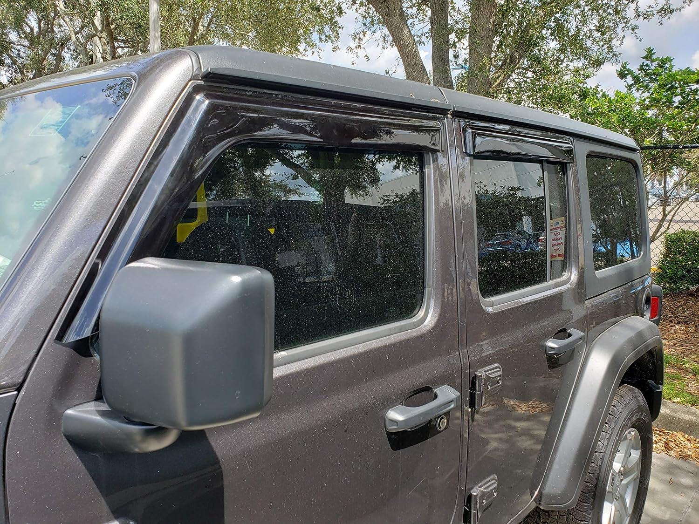 Optimal Co Smoke Tinted Side Window Vent Visor Deflectors Rain Guards for 2018 2019 2020 Jeep Wrangler JL Unlimited 4 Door 4 Piece Set