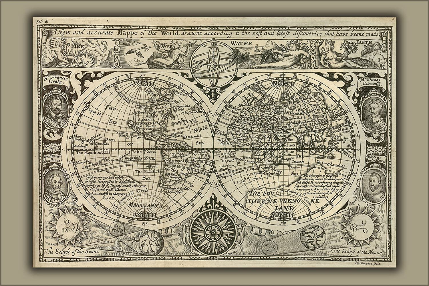 A New And Accurate Map Of The World 1628.Amazon Com 42x63 Poster Map Of The World 1628 Everything Else