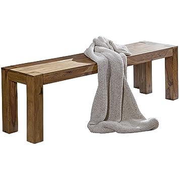 WOHNLING Esszimmer Sitzbank Massiv Holz Sheesham 120 X 45 X 35 Cm Design  Holz