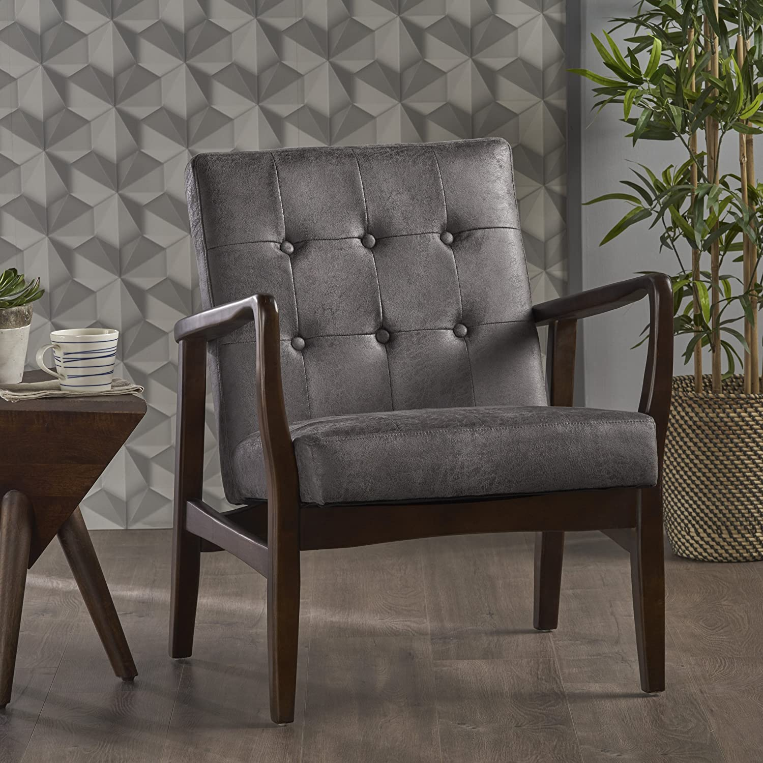 Christopher Knight Home 302417 Conrad Mid Century Modern Arm Chair in Slate Micro Fiber