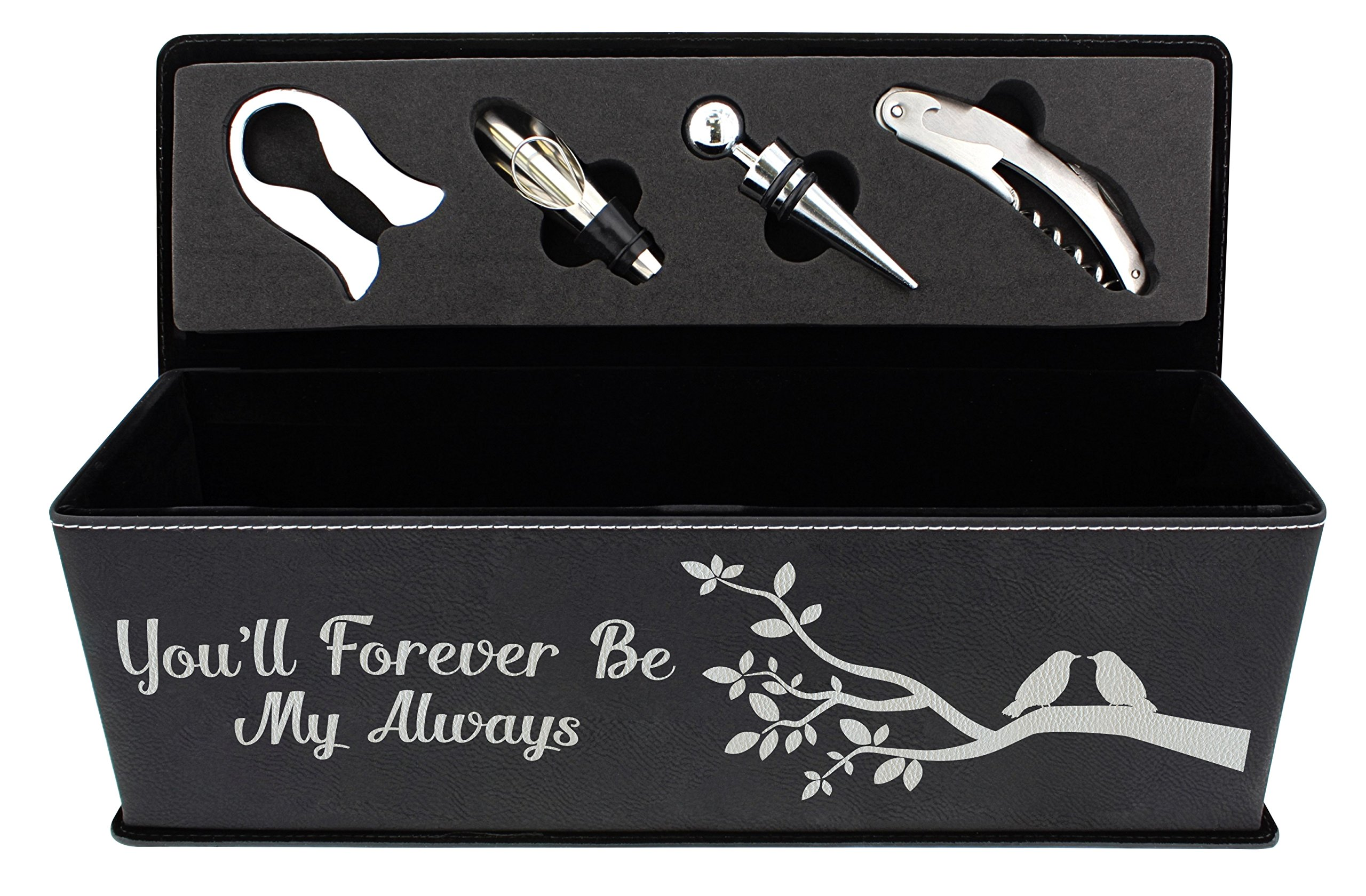 Anniversary Gifts for Her You'll Forever Be My Always Wedding Gifts for Husband and Wife Gifts Laser Engraved Leather Wine Gift Box & Wine Accessory Kit