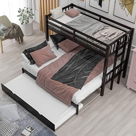 Amazon Com Twin Over Twin King Bunk Beds With Trundle Twin Over Pull Out Bunk Bed Accommodate 4 People For Kids Adult No Box Spring Needed Kitchen Dining