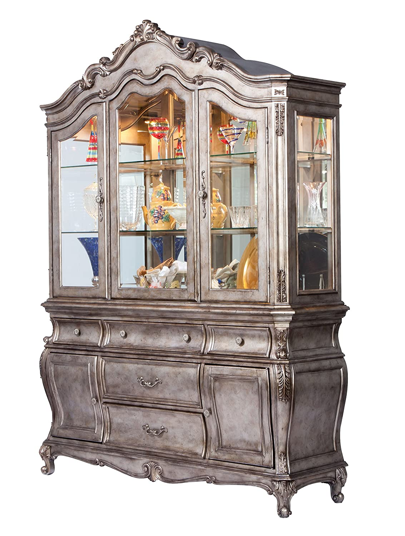 Acme Furniture 60540 Chantelle Dining Table, Antique Platinum
