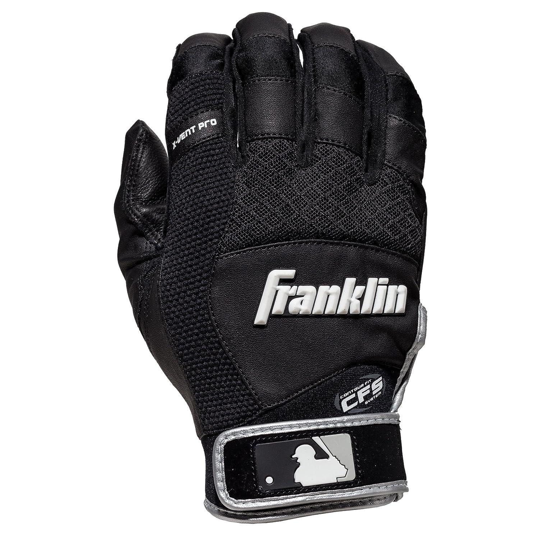 Franklin Sports MLB X-Vent プロバッティンググローブ ペア B013LPU80C Medium|ブラック/グレー ブラック/グレー Medium