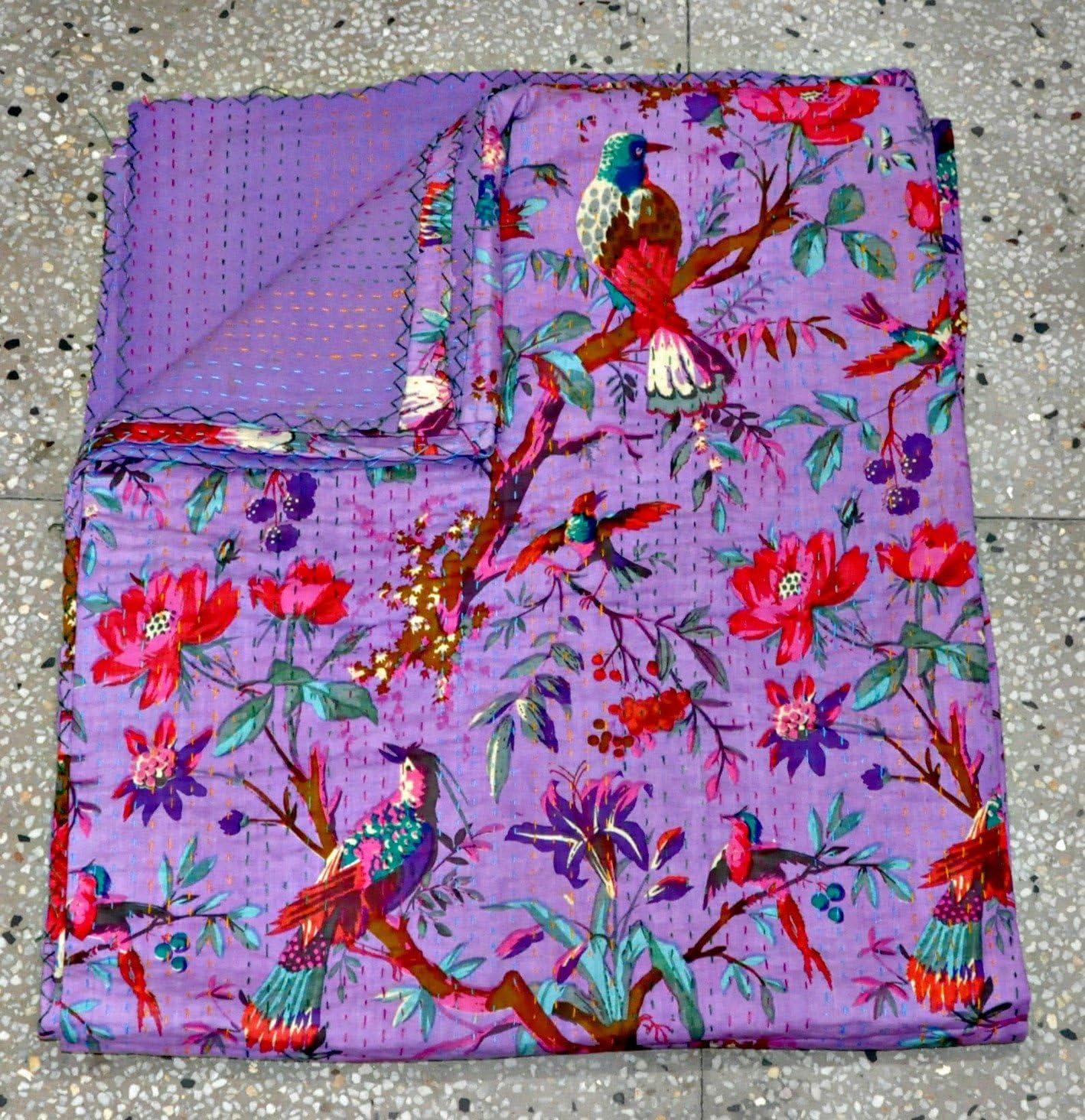 Queen Patchwork Kantha Quilt In purple Bird, Handmade Cotton Kantha Throw blaket GE581P-7E6 2CF5721790