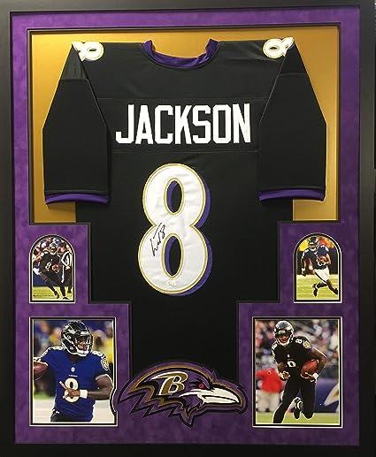 8bef7fd8c32 Lamar Jackson Baltimore Ravens Autograph Signed Black Custom Framed Jersey  Suede Matted JSA Witnessed Certified