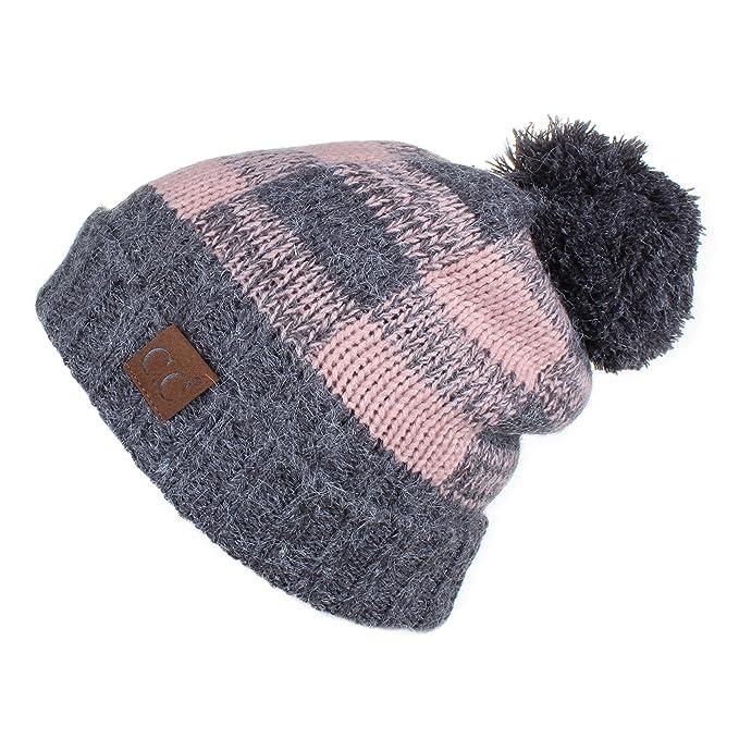 ad4af2fa8bd C.C Hatsandscarf Exclusives Buffalo Check Pattern Fuzzy Lined Knit Pom  Beanie Hat (HAT-55)