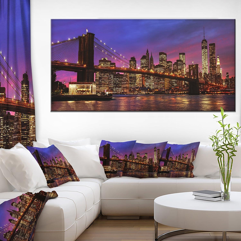83x32-7 Equal Panels Extra Large Cityscape Wall Art on Canvas Designart PT14354-83-32-7P Brooklyn Bridge and Manhattan at Sunset