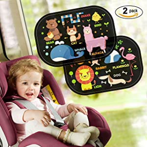 Car Window Sun Shade (2 Packs),Safe&Care Kids Universal Easy Use Stastic Cling Window Sun Shades for Car Side Windows, UPF 50+ Protection, Blocks Over 97% UV Rays, Protection for Your Baby, Kids, Pets,With Storage Pouch(Animals)