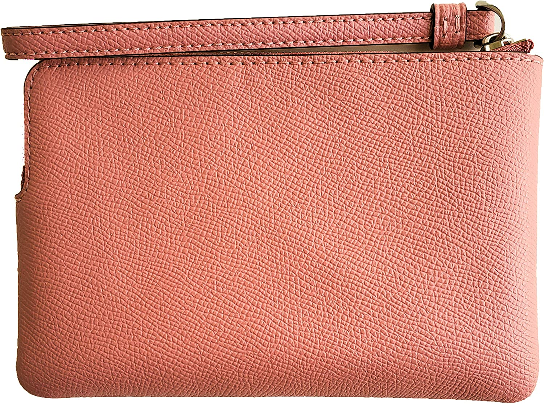 Coach Crossgrain Leather Corner Zip Wristlet Light Blush//Silver