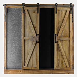 American Art Décor Rustic Wood and Metal Rolling Barn Door Chalkboard
