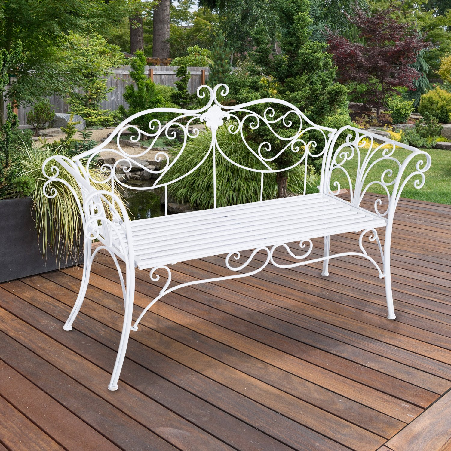 Garden patio seat 2 seater outdoor metal love seat garden for Garden love seat uk