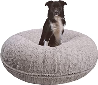 product image for BESSIE AND BARNIE Signature Serenity Grey Luxury Extra Plush Faux Fur Bagel Pet/Dog Bed (Multiple Sizes)
