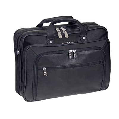 Mancini Leather Goods Checkpoint Friendly Briefcase Laptop and Tablet (Black)
