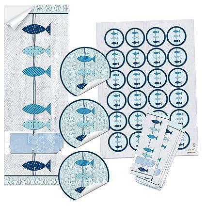 Set 25 24 Blau Türkis Weiß 3 Fische Aufkleber Symbol Taufe Kommunion Hochzeit Maritim Geschenk Sticker Tischkarten Einladungs Karten Basteln