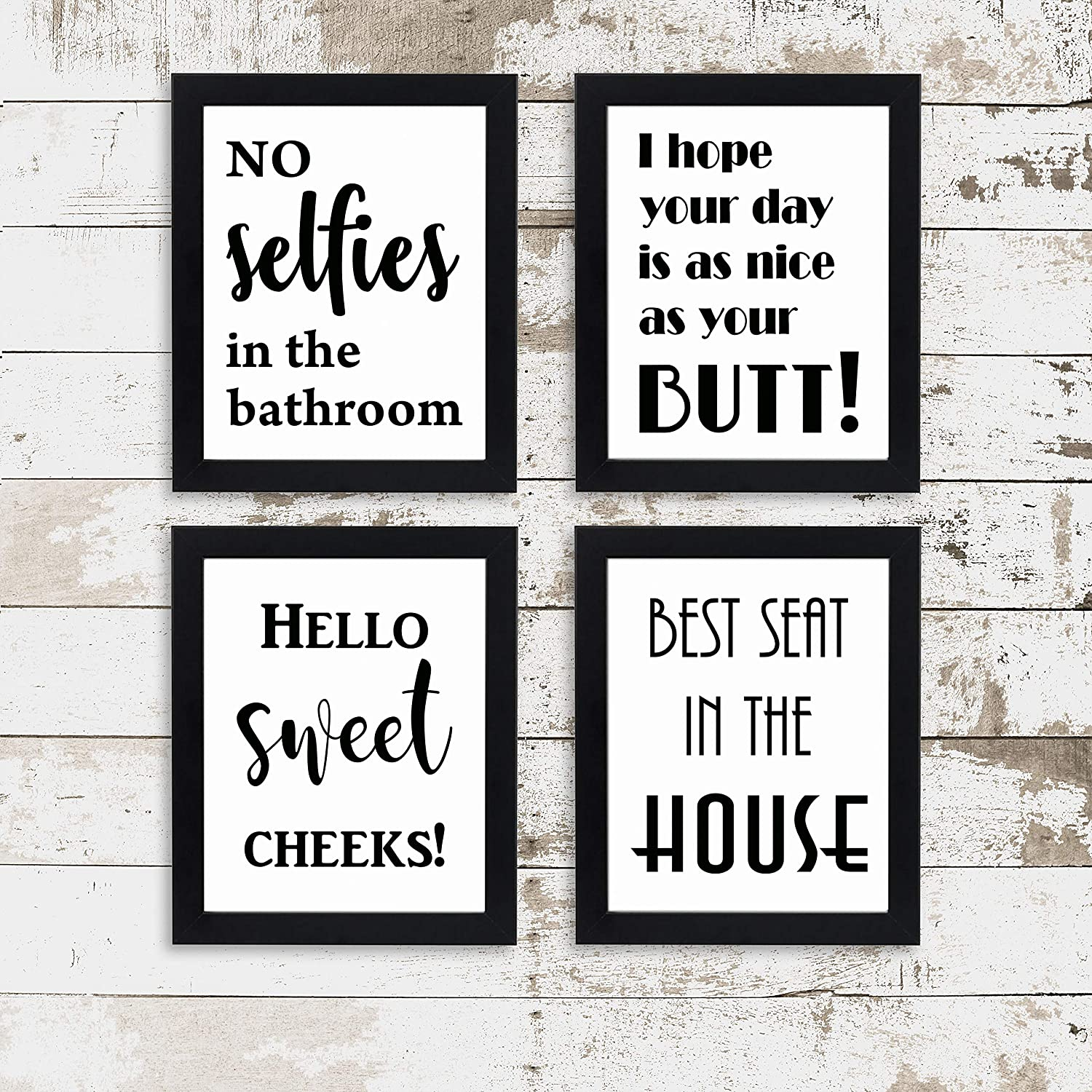 Bathroom Wall Decor Unframed Prints | No Selfies in The Bathroom Wall Decor | I Hope Your Day is As Nice As Your Butt | Hello Sweet Cheeks | Best Seat in The House Bathroom Wall Décor