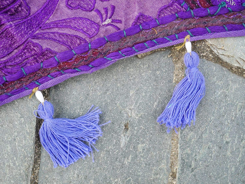 Indian wall hanging or window decor 39x38| purple embroidered window valance for boho Shanti Gypsy Door Curtain bohemian home decor