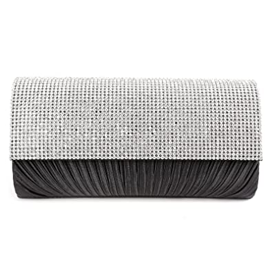 492083139ba Anladia Women Pleated Evening Clutch Bag Satin Diamante Bridal Shoulder Bag  Prom Handbag: Amazon.co.uk: Shoes & Bags