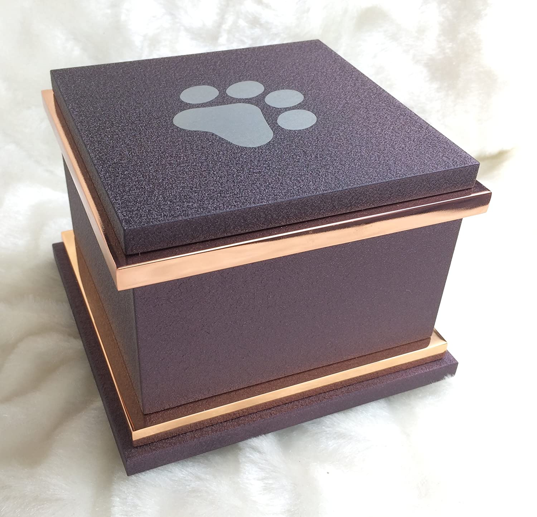 Metal Cremation Urn Vault with Polished Copper Trim for Pets