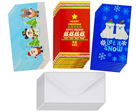 Review Christmas Gift Card Holders with Envelopes/Christmas Money Card Holder for Xmas Checks,Gift Cards or Cash (Glitter/Hot Stamps) (Designs 1, 25 count)