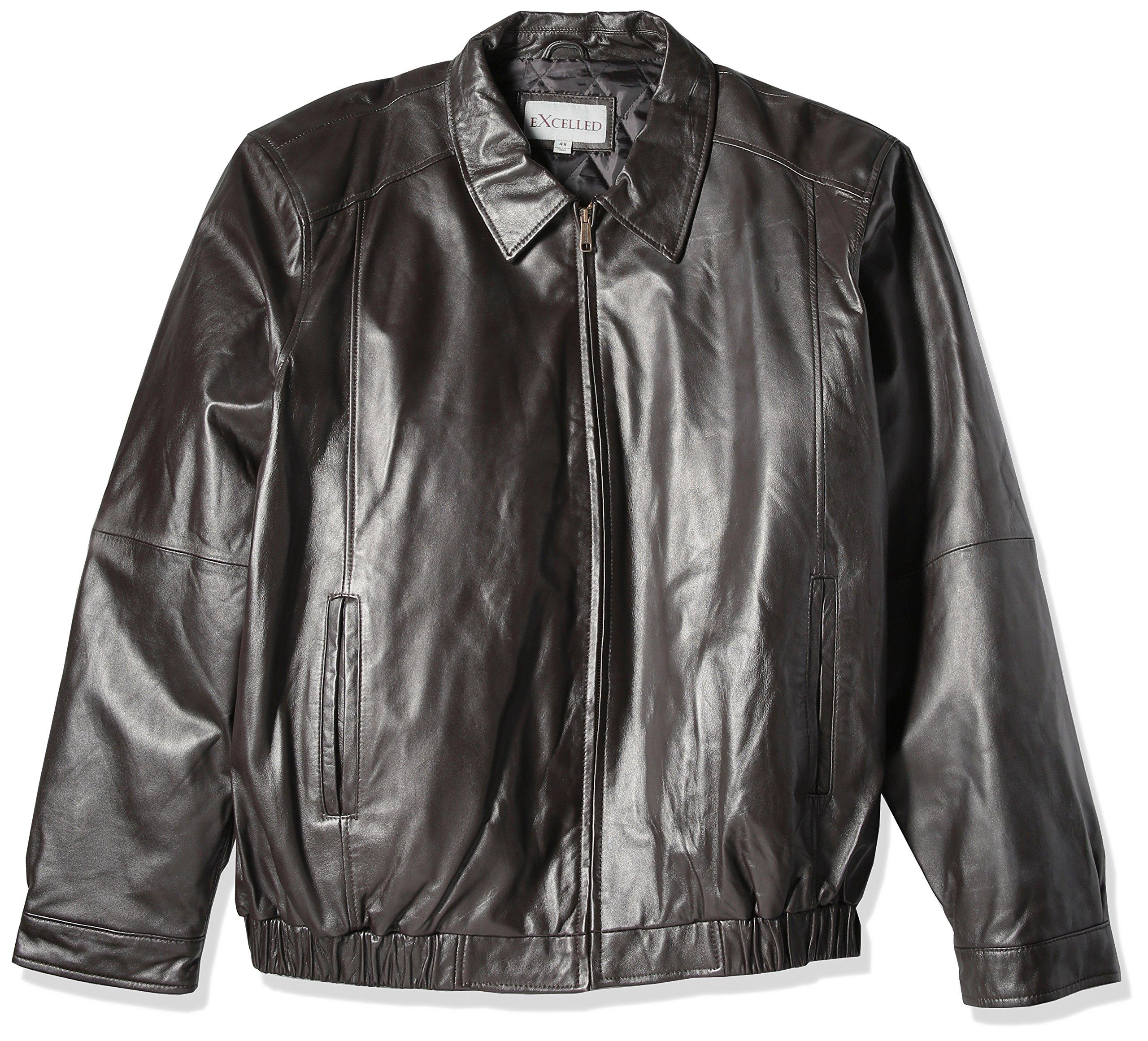Excelled Men's Big Lambskin Shirt Collar Bomber Jacket, Brown, X-Large Tall