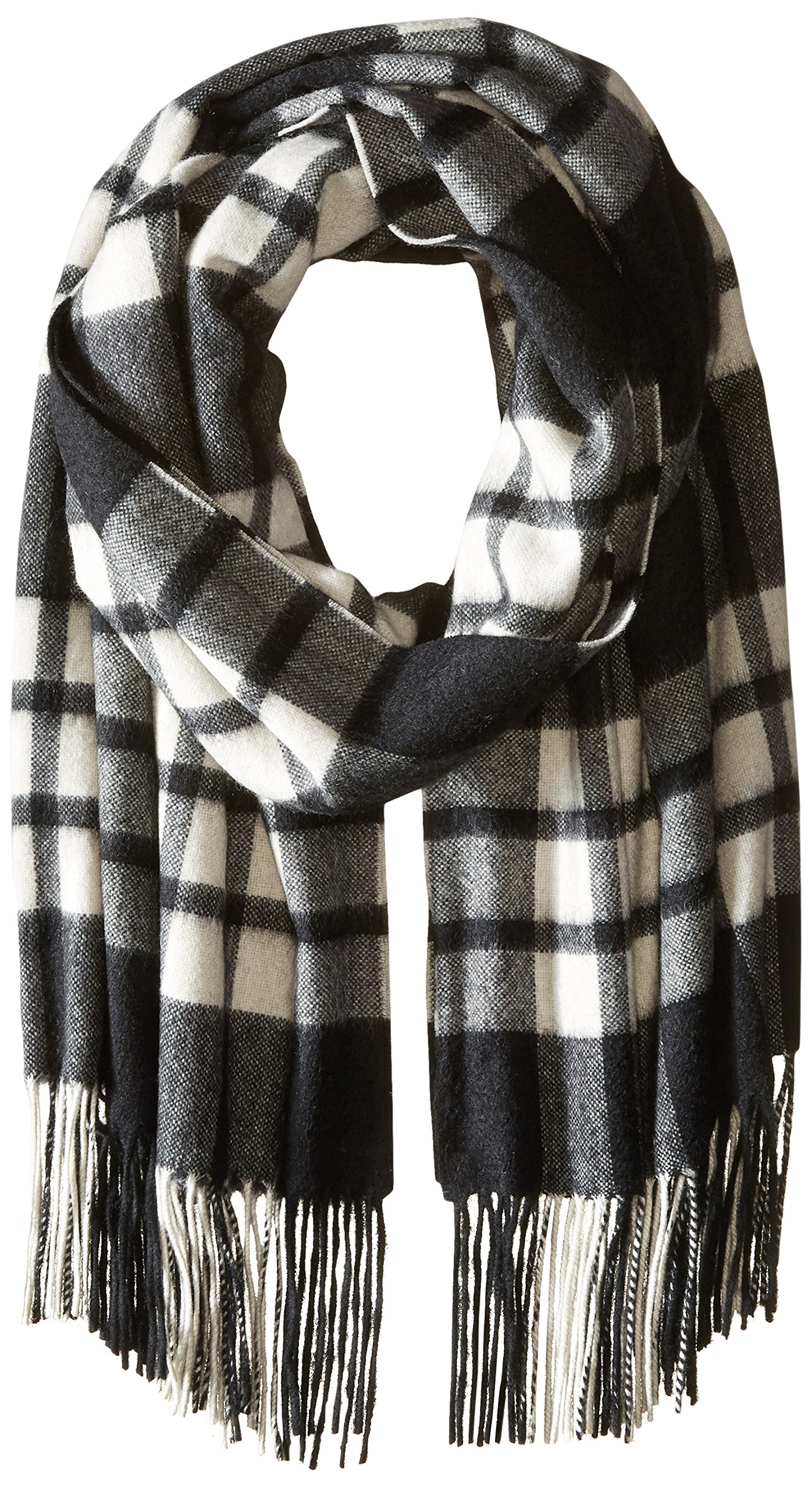 Phenix Cashmere Women's Plaid 100 Percent Cashmere Wrap, Black/White, One Size