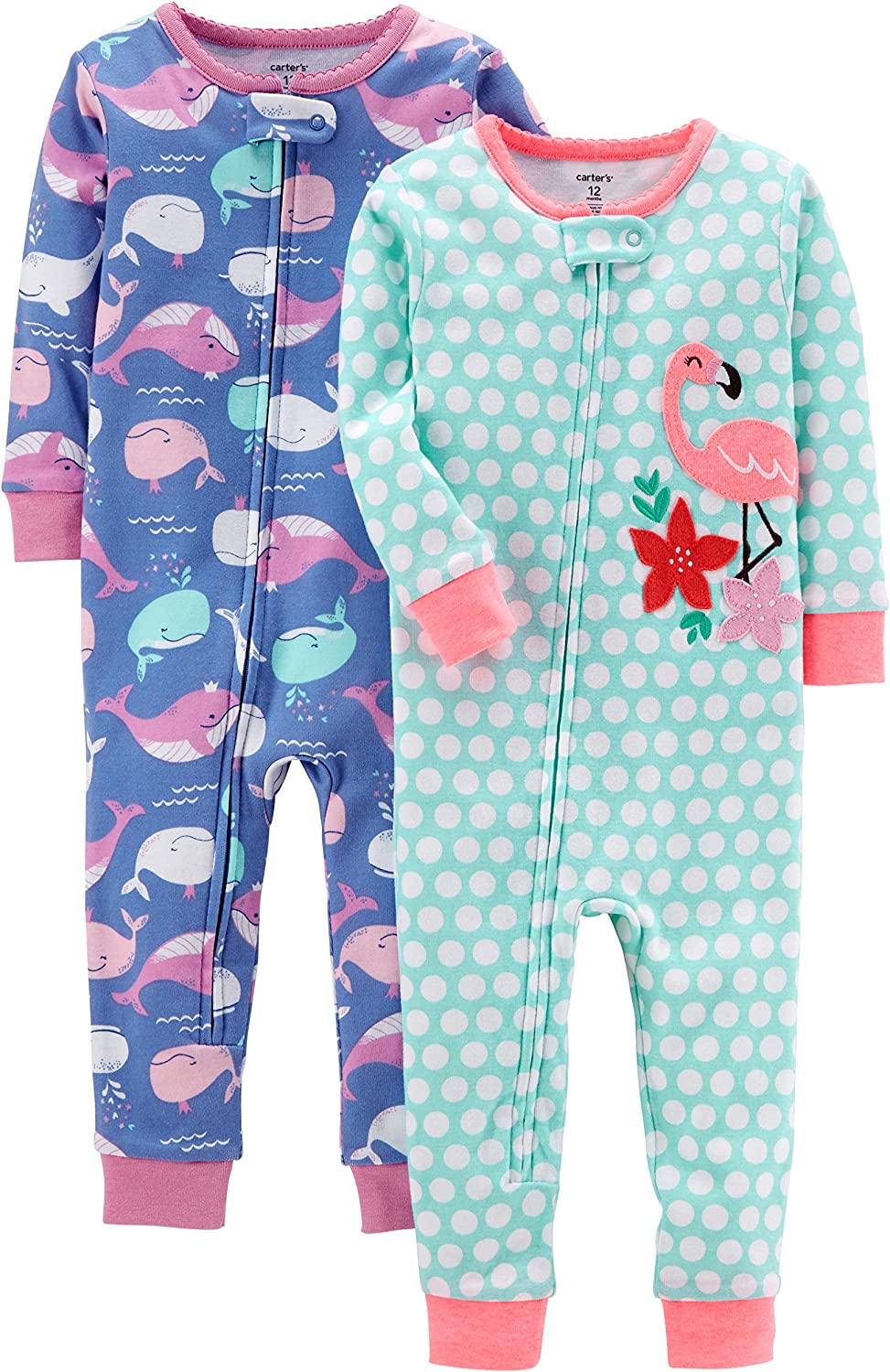 Carters Baby-Girls 2-Pack Cotton Footless Pajamas Sleepers
