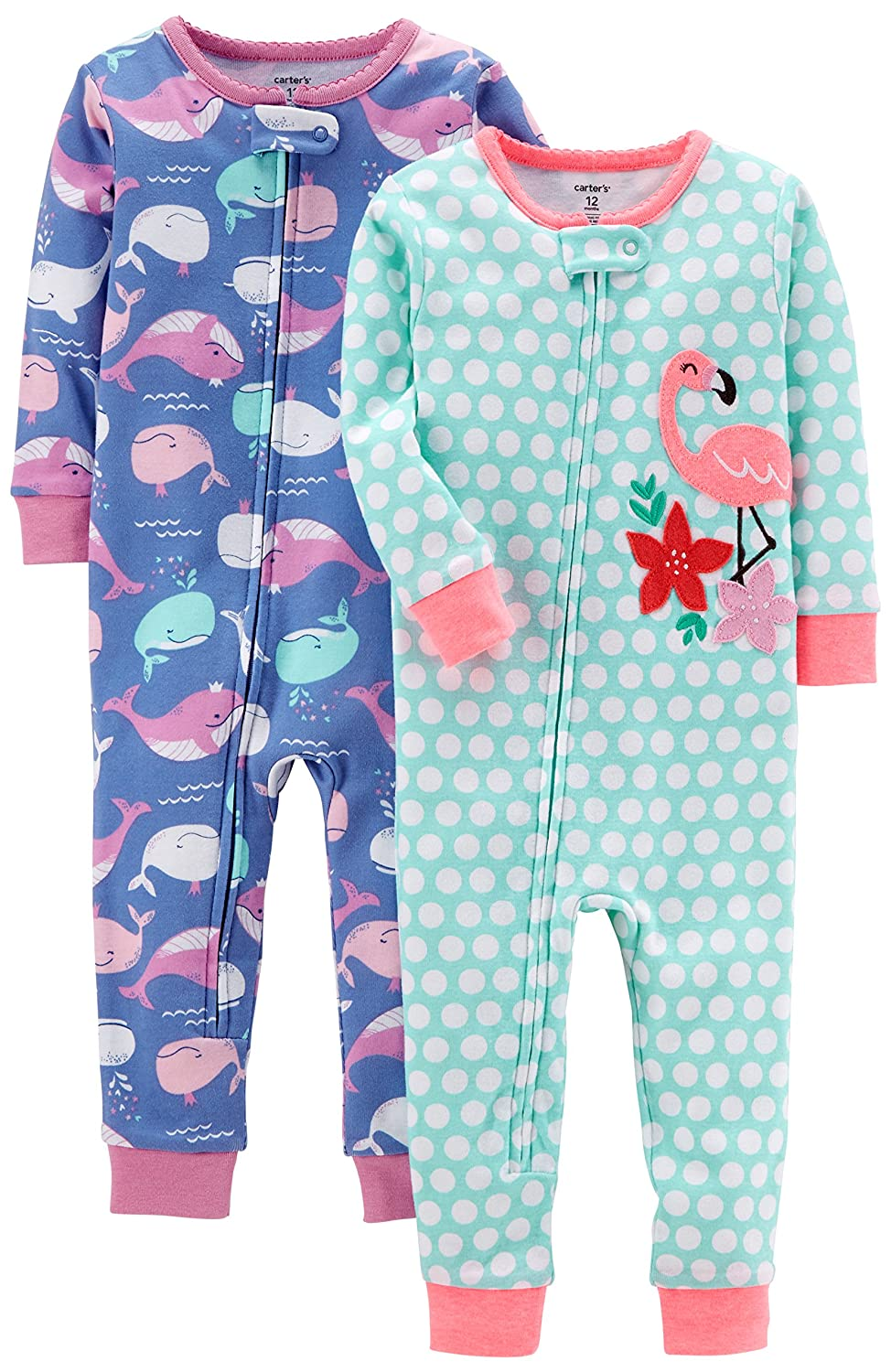 Carter's Baby Girls' 2-Pack Cotton Footless Pajamas Carter's