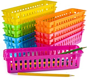 Prextex Classroom Pencil Organizer Pencil Basket or Crayon Basket, Variety Colors (12 pack)