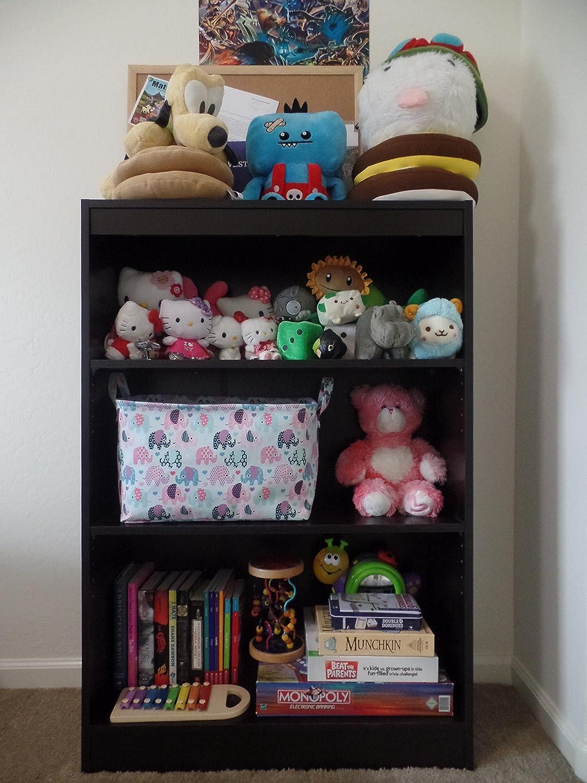 amazoncom toy storage basket and canvas box organizer with elephant prints for kids toys and nursery storage baby hamper book bag laundry clothing bin