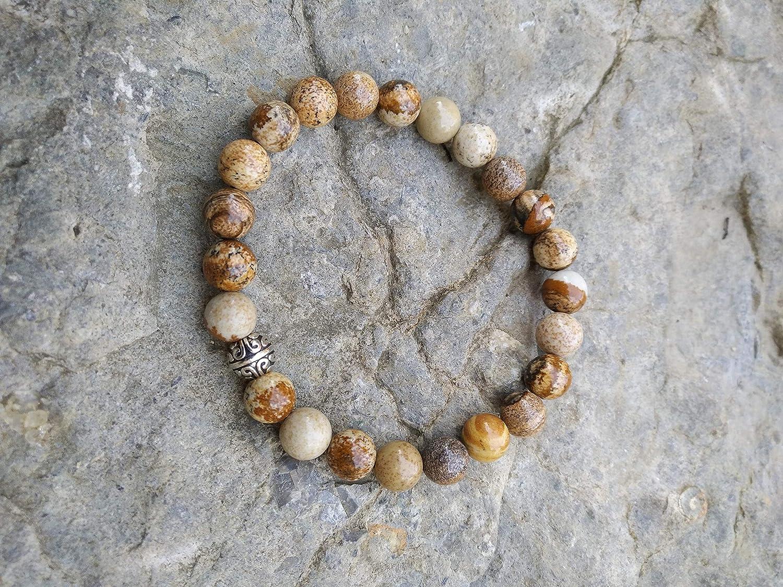 Braceletstabilit/é en pierre naturelle de jaspe paysage et perle tib/étaine