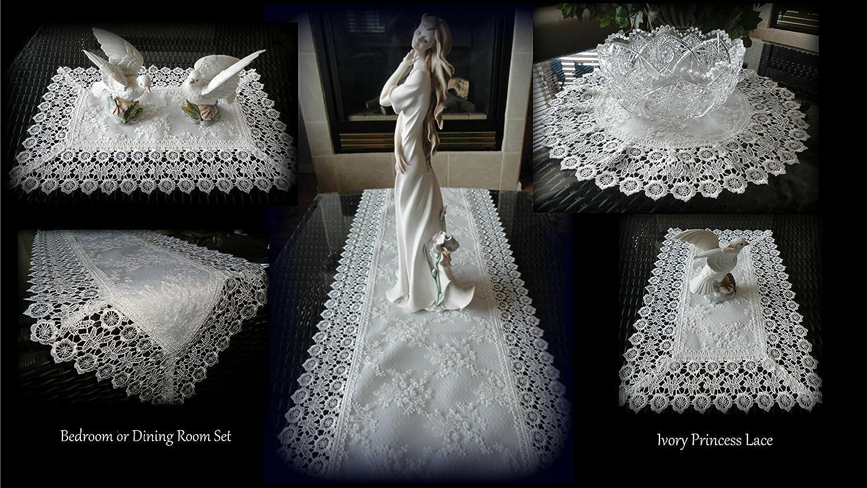 Galleria di Giovanni 5 Piece Linen Gift Set Ivory Princess Lace European Doily Dresser Scarf Doily