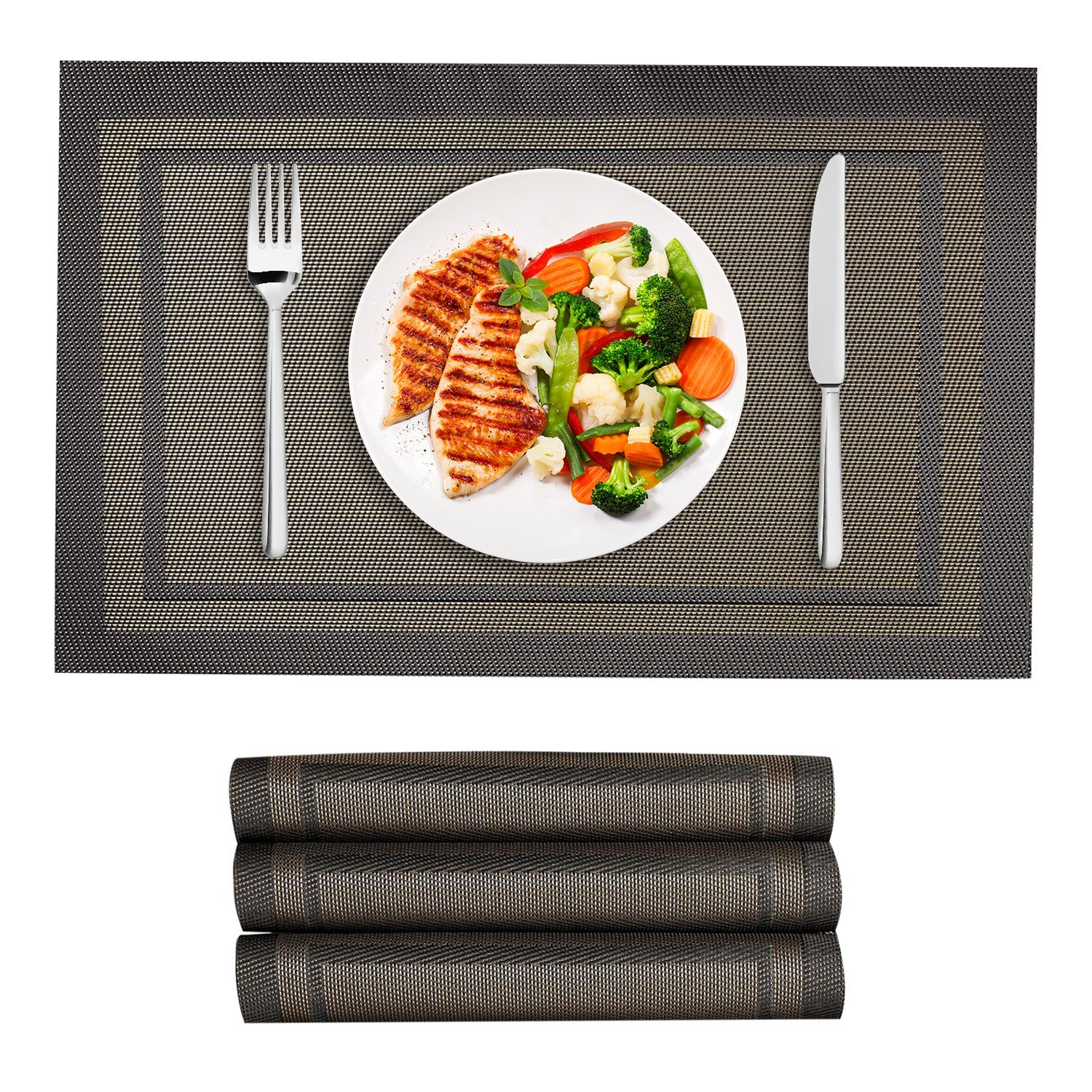 VEEYOO Woven Vinyl Placemats Non-Slip Insulation Heat Stain Resistant Washable Table Placemats Kitchen Dining Table Top Meal Mat Place Mats,PVC,13x18,Set of 4, Green VYCD17004PP18CP150-FBA