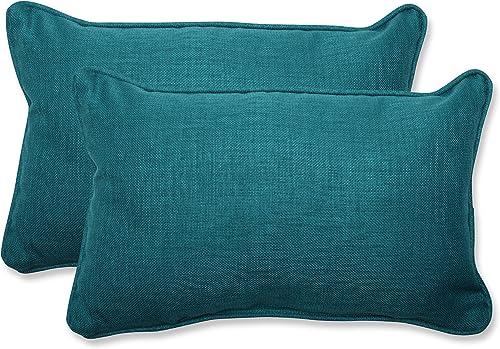 Pillow Perfect Outdoor Indoor Rave Teal Lumbar Pillows, 11.5 x 18.5 , Green, 2 Pack